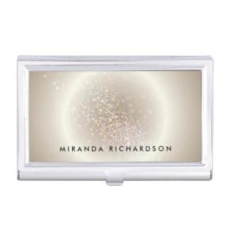Gold Celestial Confetti Circle Business Card Holder
