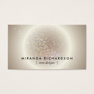 Gold Celestial Confetti Circle Event Planner Business Card