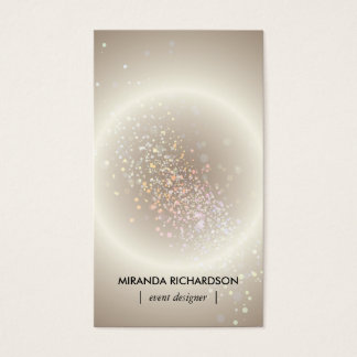 Gold Celestial Confetti Circle Event Planner II Business Card