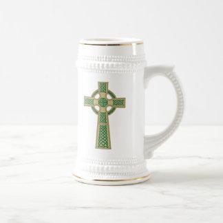 Gold Celtic Cross Beer Stein Coffee Mug