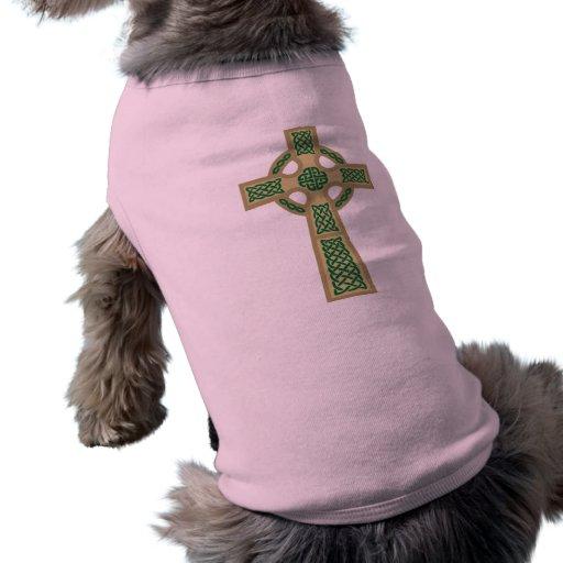 Gold Celtic Cross Dog Shirt