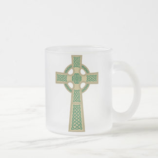 Gold Celtic Cross Frosted Coffee Mug