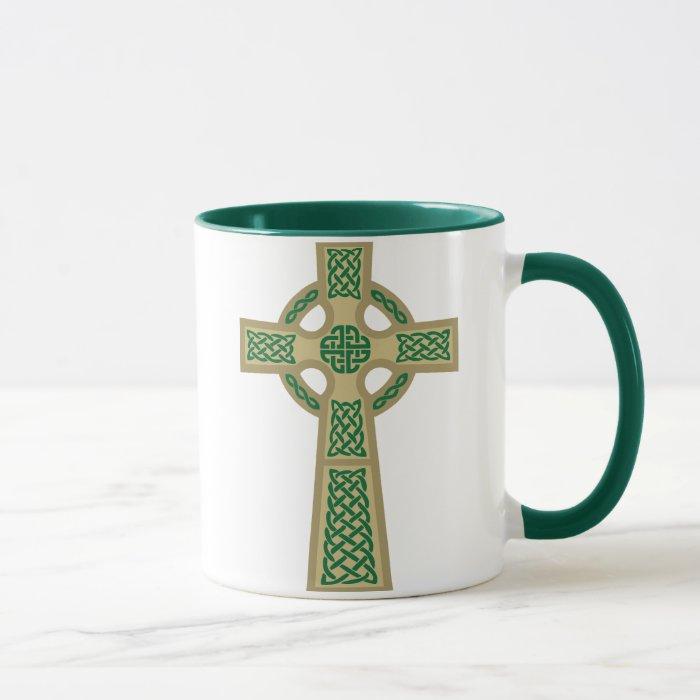 Gold Celtic Cross Glass Mug