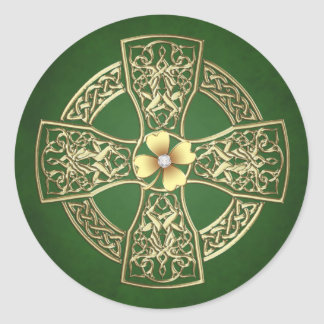 Gold Celtic Cross Jeweled Stickers