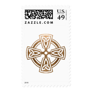 Gold Celtic Cross Religious Christmas Postage at Zazzle
