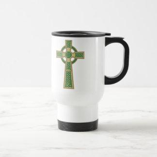 Gold Celtic Cross Travel Mug