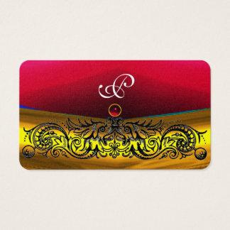 GOLD CELTIC DRAGONS RED RUBY GEM MONOGRAM, Pearl Business Card