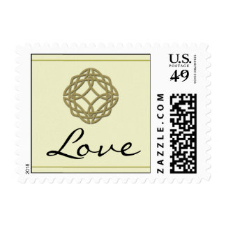Gold Celtic Eternity Knot Love Postage Stamp