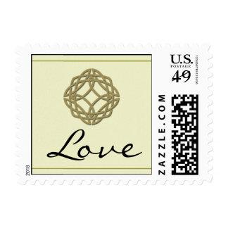 Gold Celtic Eternity Knot Love Postage Stamp