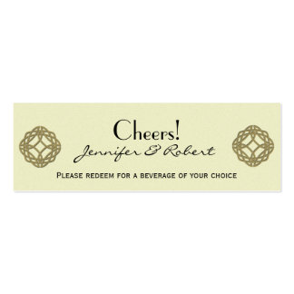 Gold Celtic Eternity Knot Wedding Drink Ticket Business Card Template