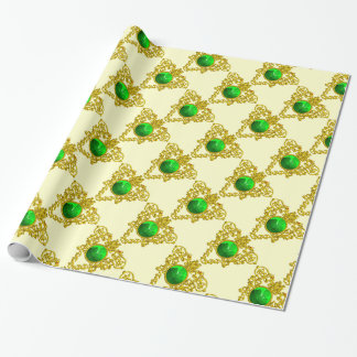 GOLD CELTIC HEART Saint Patrick's Day Wrapping Paper