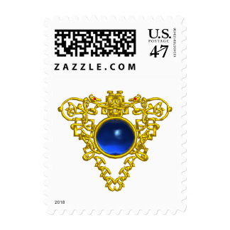 GOLD CELTIC HEART WITH BLUE SAPPHIRE GEMSTONE POSTAGE STAMP