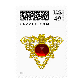 GOLD CELTIC HEART WITH RED RUBY GEMSTONE POSTAGE
