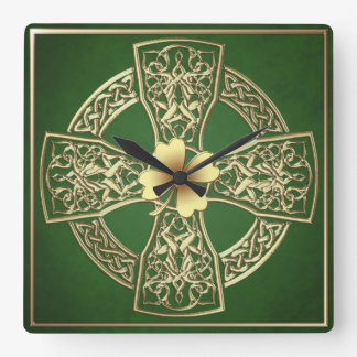 Gold Celtic  Irish Square Clock