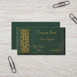 Gold Celtic Knot Dark Green Suede Business Card
