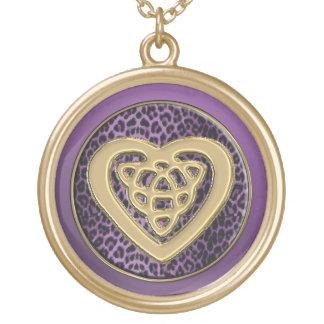Gold Celtic Knot Heart on Purple Leopard Necklace