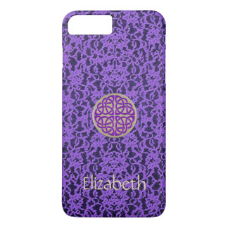 Gold Celtic Knot on Lavender Lace iPhone 7 Case