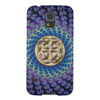 Gold Celtic Knot on Spiral Fractal Samsung Galaxy Galaxy S5 Case