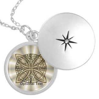 Gold Celtic Knot Original Artistic Design Round Locket Necklace