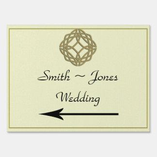 Gold Celtic Knot Wedding Direction Sign