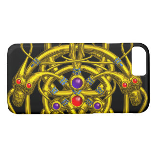 GOLD CELTIC KNOTS,TWIN DRAGONS AND GEMSTONES Black iPhone 7 Case