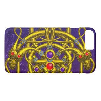GOLD CELTIC KNOTS,TWIN DRAGONS,GEMSTONES Purple iPhone 7 Plus Case
