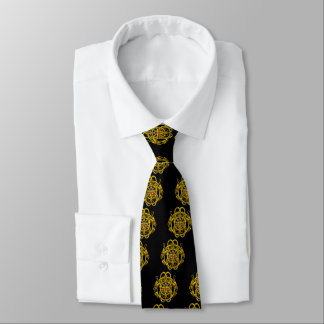 GOLD CELTIC KNOTS WITH TWIN DRAGONS Black Neck Tie
