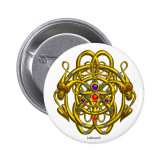 GOLD CELTIC KNOTS WITH TWIN DRAGONS BUTTON