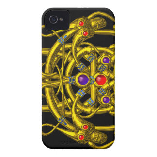 GOLD CELTIC KNOTS WITH TWIN DRAGONS Case-Mate iPhone 4 CASE