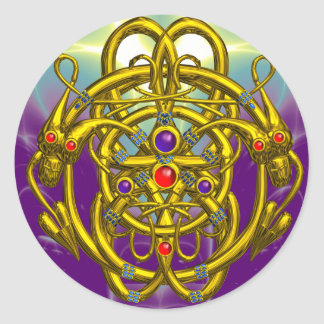 GOLD CELTIC KNOTS WITH TWIN DRAGONS CLASSIC ROUND STICKER