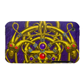 GOLD CELTIC KNOTS WITH TWIN DRAGONS iPhone 3 Case-Mate CASES