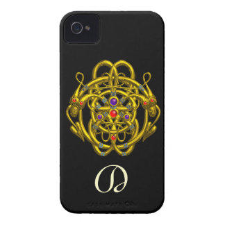 GOLD CELTIC KNOTS WITH TWIN DRAGONS iPhone 4 Case-Mate CASE