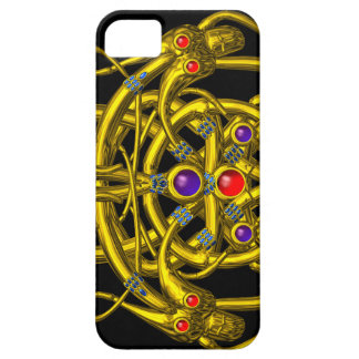 GOLD CELTIC KNOTS WITH TWIN DRAGONS iPhone SE/5/5s CASE
