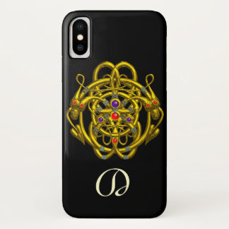 GOLD CELTIC KNOTS WITH TWIN DRAGONS iPhone X CASE