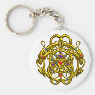 GOLD CELTIC KNOTS WITH TWIN DRAGONS KEY CHAIN