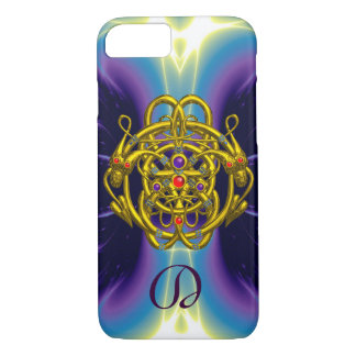 GOLD CELTIC KNOTS WITH TWIN DRAGONS MONOGRAM iPhone 7 CASE