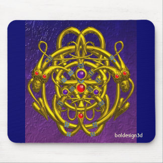 GOLD CELTIC KNOTS WITH TWIN DRAGONS MOUSEPADS