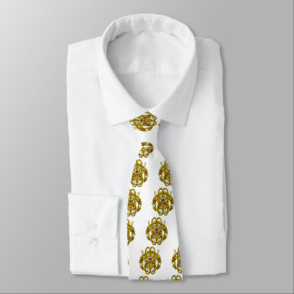 GOLD CELTIC KNOTS WITH TWIN DRAGONS NECK TIE