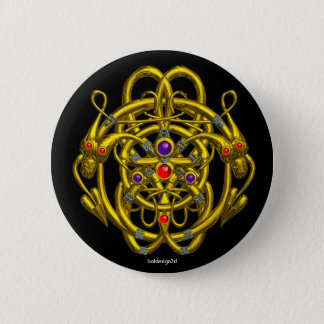 GOLD CELTIC KNOTS WITH TWIN DRAGONS PINBACK BUTTON