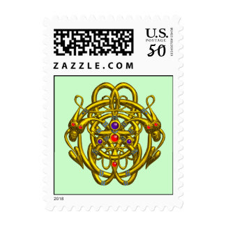 GOLD CELTIC KNOTS WITH TWIN DRAGONS POSTAGE
