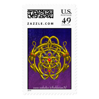 GOLD CELTIC KNOTS WITH TWIN DRAGONS POSTAGE STAMP