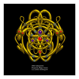 GOLD CELTIC KNOTS WITH TWIN DRAGONS POSTER