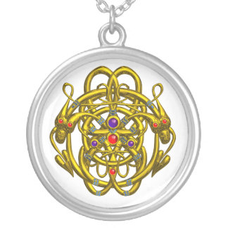 GOLD CELTIC KNOTS WITH TWIN DRAGONS ROUND PENDANT NECKLACE