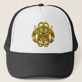 GOLD CELTIC KNOTS WITH TWIN DRAGONS TRUCKER HAT