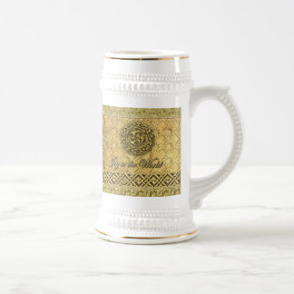 Gold Celtic Symbolic Joyful Holiday Stein 18 Oz Beer Stein