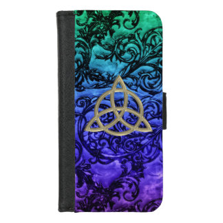 Gold Celtic Trinity Knot Damask Wallet Phone Case