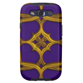 Gold Celtic Weave On Purple Background Galaxy S3 Cases