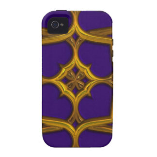 Gold Celtic Weave On Purple Background Case-Mate iPhone 4 Covers
