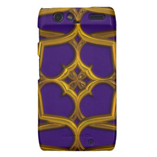 Gold Celtic Weave On Purple Background Droid RAZR Cover