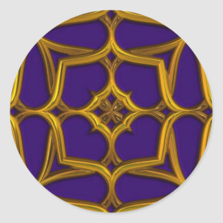 Gold Celtic Weave On Purple Background Classic Round Sticker